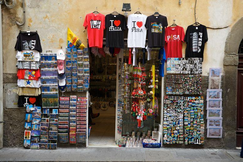 Italian Souvenir stand selling magnets and postcards