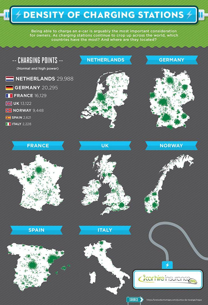 Maps showing the location of electric car charging points in european countries