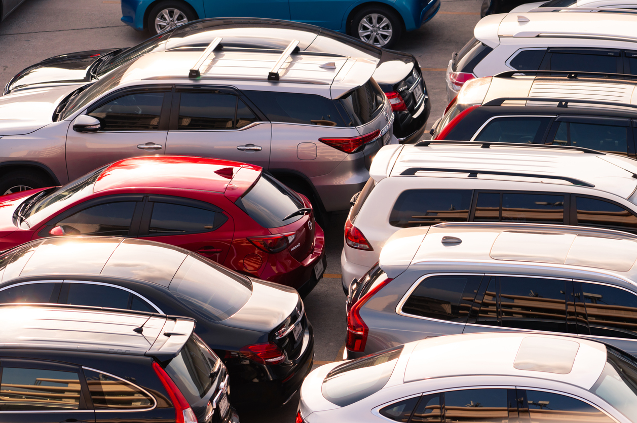 Rental cars parked in parking lot