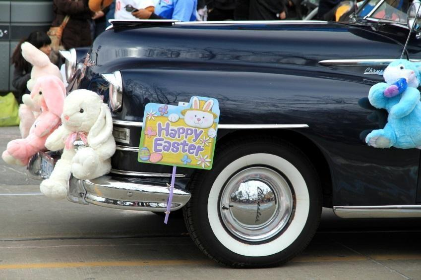 Easter bunny on car