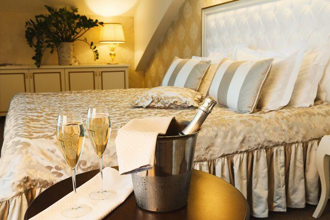 Luxury hotel room with champagne