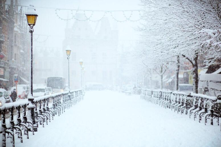 Bridge covered in snow in Winter