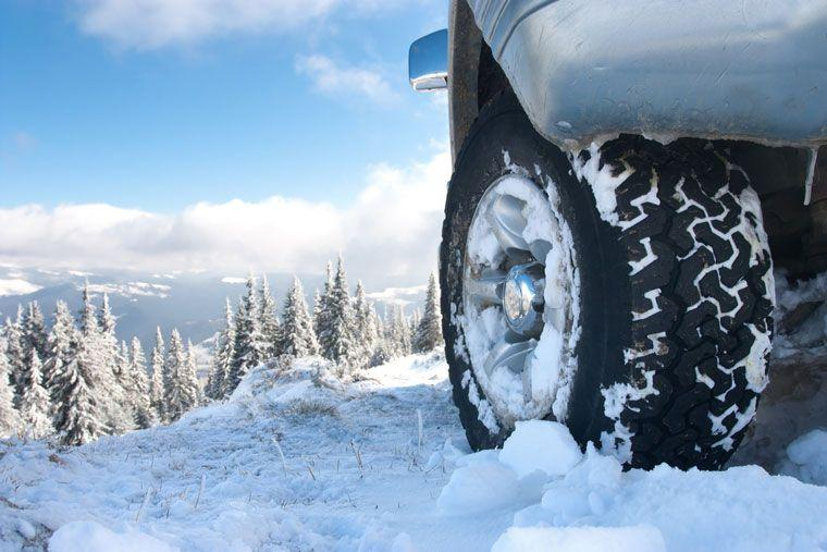 Winter tyre on vehicle