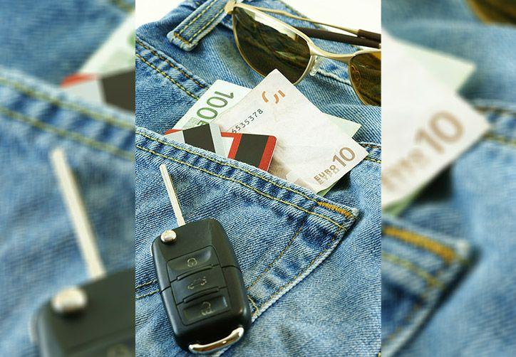 Rental car key and Euros in jeans pocket.