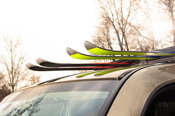 Rental car with ski rack